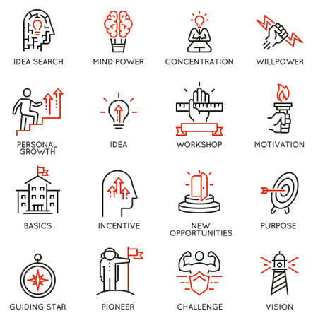 Vector set of linear icons related to skills, empowerment leadership development, qualities of a leader and willpower. Mono line pictograms and infographics design elements - part 2