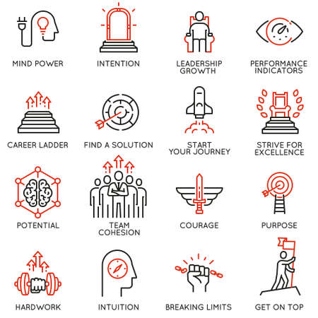 Vector set of linear icons related to skills, empowerment leadership development, qualities of a leader and willpower.