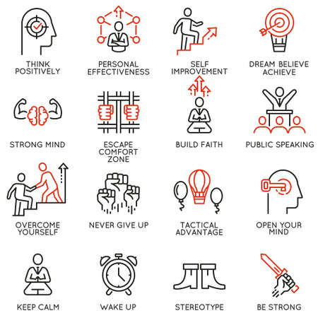 Vector set of linear icons related to skills, empowerment leadership development, qualities of a leader and willpower. Mono line pictograms and infographics design elements - part 4 Illustration