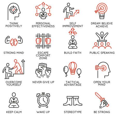 Vector set van lineaire pictogrammen met betrekking tot vaardigheden, empowerment leiderschapsontwikkeling, kwaliteiten van een leider en wilskracht. Monolijnpictogrammen en infographicsontwerpelementen - deel 4