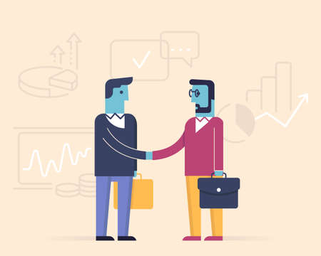 Vector linear flat illustration. Related to business partnership, interaction, meeting, negotiation and stakeholders. Info-graphics illustration. Illustration