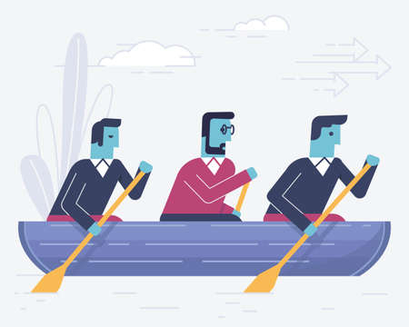 Vector linear flat illustration related to business partnership, interaction, team work and team spirit. Infographics illustration - part 2 Illustration