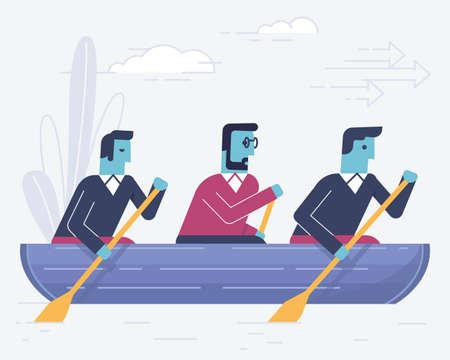 Liniowa płaska ilustracja wektorowa związana z partnerstwem biznesowym, interakcją, pracą zespołową i duchem zespołu. Ilustracja infografiki - część 2