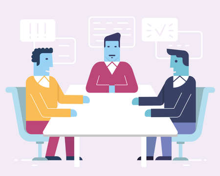 Vector linear flat illustration related to business partnership, stakeholders, workgroup, discussion and human resource management. Infographics illustration