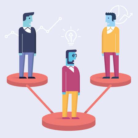 Illustration plate linéaire vectorielle liée au leadership, aux partenariats commerciaux, aux parties prenantes et à la gestion des ressources humaines. Vecteurs