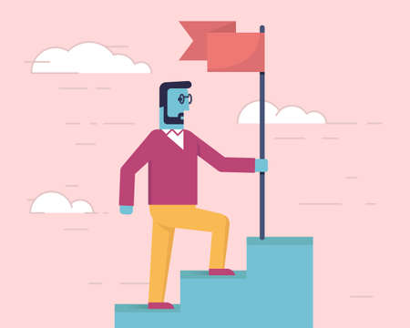 Vector linear flat illustration related to leadership behavior, business achievement and confidence. Leader reaching goal with flag
