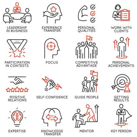 Conjunto de iconos lineales relacionados con habilidades, desarrollo de liderazgo de empoderamiento y cualidades de un líder.