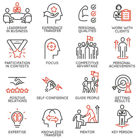 Set di icone lineari relative a competenze, sviluppo della leadership di empowerment e qualità di un leader.