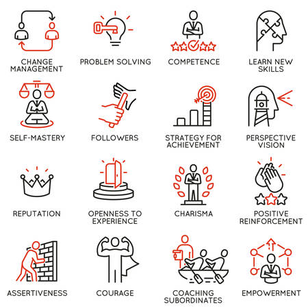 A Vector set of linear icons related to skills, empowerment leadership development and qualities of a leader. Illustration