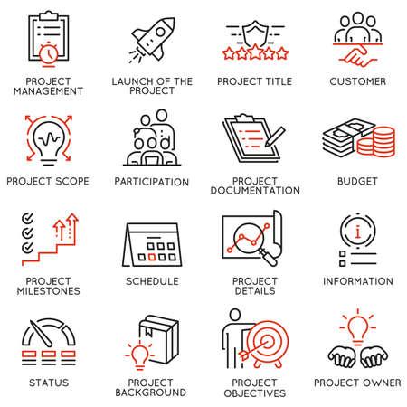 Vektorsatz von linearen Symbolen im Zusammenhang mit Projektmanagement. Mono Line Piktogramme und Infografiken Designelemente - Teil 1