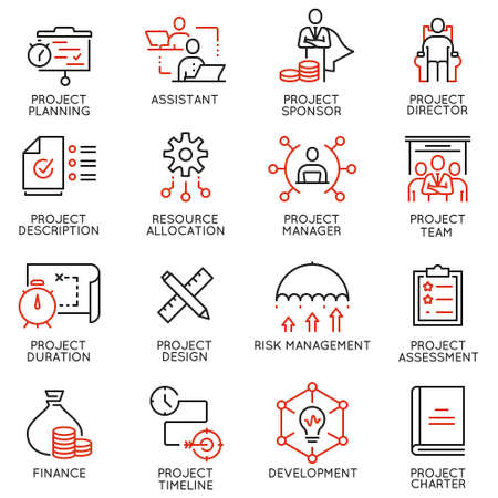 Vector set of linear icons related to project management. Mono line pictograms and infographics design elements - part 2