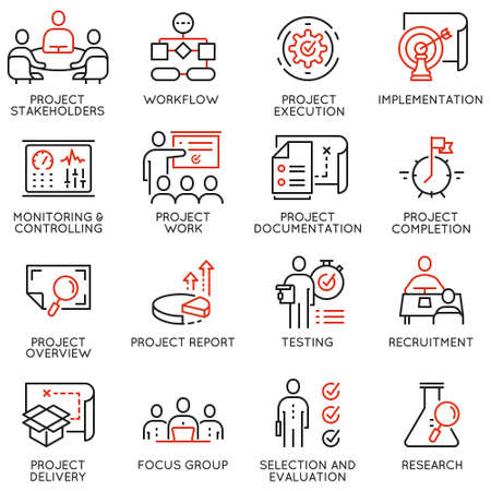 Vector set of linear icons related to project management. Mono line pictograms and infographics design elements