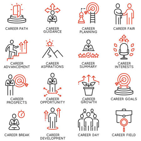 Vector set of linear icons related to career development and advancement. Mono line pictograms and infographics design elements Archivio Fotografico - 104932905
