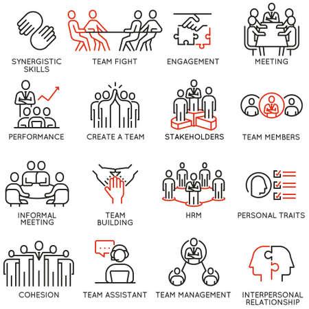 Wektor zestaw ikon liniowych związanych z procesem biznesowym, pracą zespołową, zarządzaniem zasobami ludzkimi i interesariuszami. Piktogramy mono-line i elementy projektu infografiki - część 6