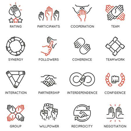Vector conjunto de iconos lineales relacionados con la relación, el trabajo en equipo y la cooperación. Pictogramas de línea mono y elementos de diseño de infografías