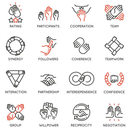 Wektor zestaw ikon liniowych związanych z relacją, pracą zespołową i współpracą. Piktogramy mono-line i elementy projektu infografiki
