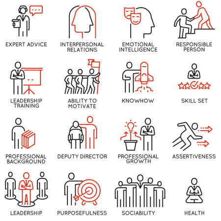 Vektorsatz linearer Symbole in Bezug auf Fähigkeiten, Stärkung der Führungsentwicklung und Qualitäten eines Führers. Monoline-Piktogramme und Infografik-Designelemente - Teil 6