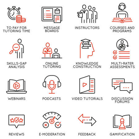 Vector set of linear icons related to online tutoring, training and professional consulting service. Mono line pictograms and infographics design elements Ilustrace