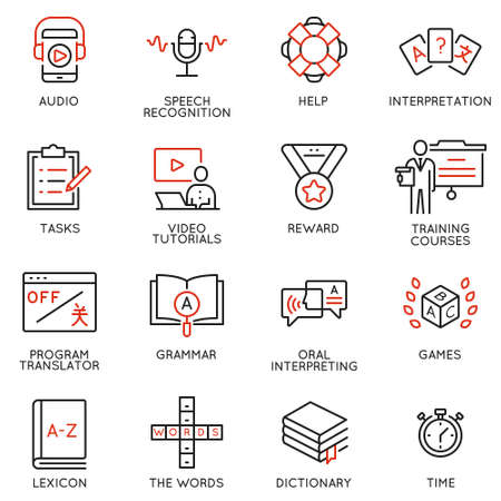 Vector set of linear icons related to language translation, studying and interpretation, translation service. Mono line pictograms and infographics design elements Illustration