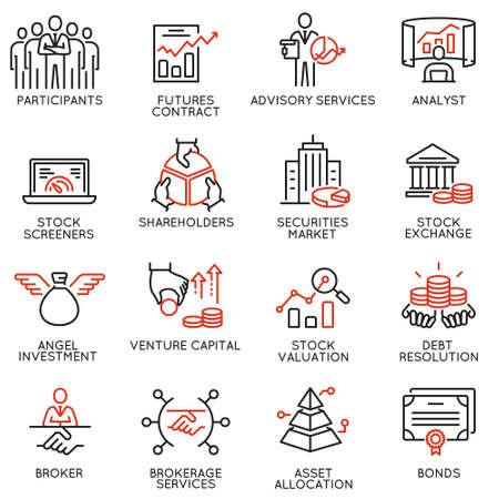 Wektor zestaw ikon liniowych związanych z usługą handlową, strategią inwestycyjną i zarządzaniem. Piktogramy mono-line i elementy projektu infografiki - część 2 Ilustracje wektorowe