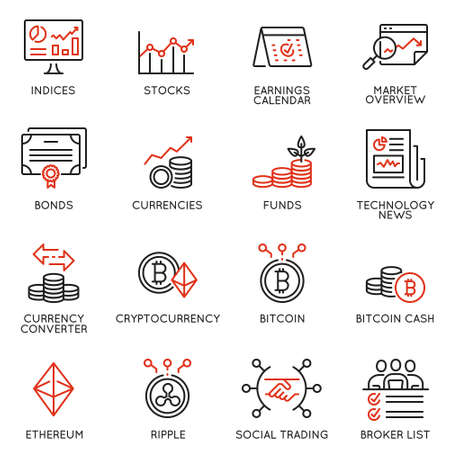 Vector set of linear icons related to trade service, investment strategy and management. Mono line pictograms and infographics design elements - part 3