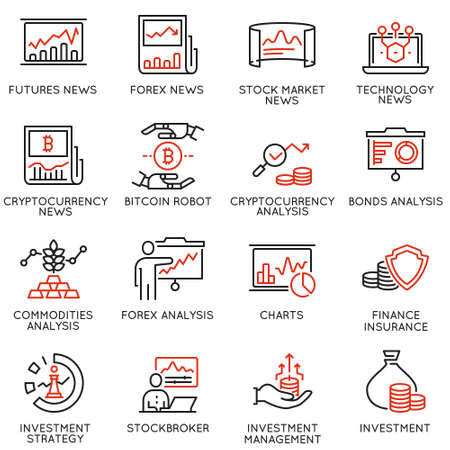 Vector set of linear icons related to trade service, investment strategy and management. Mono line pictograms and infographics design elements - part 1
