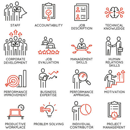 Vector set of linear icons related to human resource management. Mono line pictograms and infographics design elements - part 1