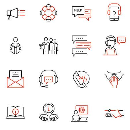 Vector set of linear icons related to support, help and online assistant. Mono line pictograms and infographics design elements Illustration