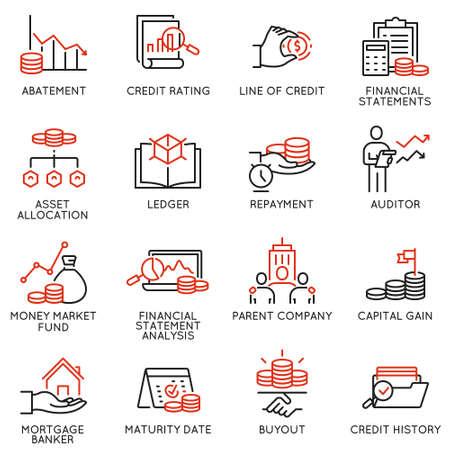 Vektorsatz linearer Symbole im Zusammenhang mit Investitionen, Finanzberatung und Unternehmensführung. Monoline-Piktogramme und Infografik-Designelemente - Teil 1