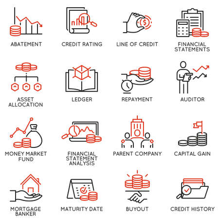 Wektor zestaw ikon liniowych związanych z inwestycjami, poradami finansowymi i zarządzaniem przedsiębiorstwem. Piktogramy mono-line i elementy projektu infografiki - część 1