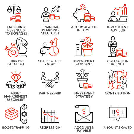 Ensemble vectoriel d'icônes linéaires liées à l'investissement, aux conseils financiers et à la gestion d'entreprise. Éléments de conception de pictogrammes de ligne mono et d'infographies - partie 2