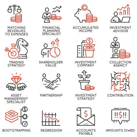 Vektorsatz linearer Symbole im Zusammenhang mit Investitionen, Finanzberatung und Unternehmensführung. Monoline-Piktogramme und Infografik-Designelemente - Teil 2