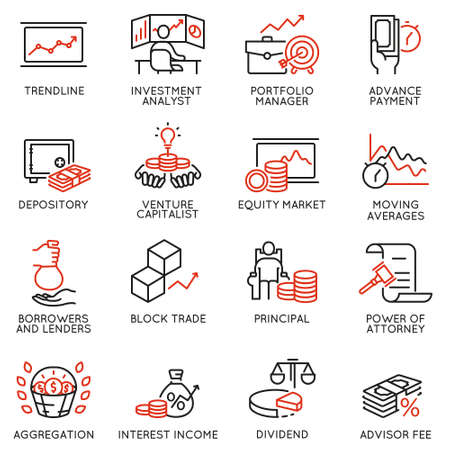 Vector set of linear icons related to investment, financial advice and business management. Mono line pictograms and infographics design elements - part 3 Illustration