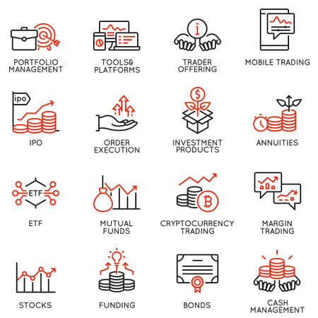 Ensemble vectoriel d'icônes linéaires liées à l'investissement, aux conseils financiers et à la gestion d'entreprise. Éléments de conception de pictogrammes de ligne mono et d'infographies - partie 4
