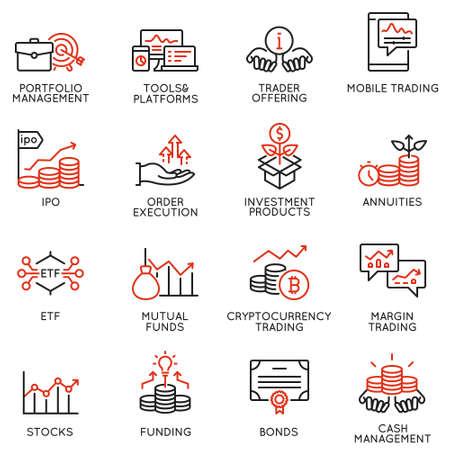 Vektorsatz linearer Symbole im Zusammenhang mit Investitionen, Finanzberatung und Unternehmensführung. Monoline-Piktogramme und Infografik-Designelemente - Teil 4
