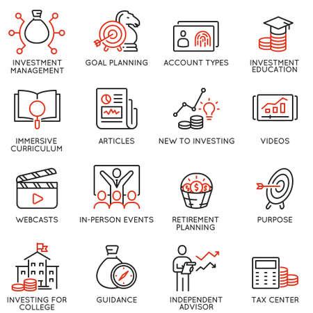 Set vettoriale di icone lineari relative a investimenti, consulenza finanziaria e gestione aziendale. Pittogrammi monolinea ed elementi di design infografica - parte 5 Vettoriali