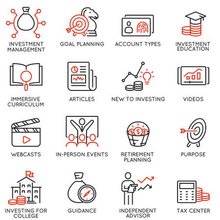 Vector set of linear icons related to investment, financial advice and business management. Mono line pictograms and infographics design elements - part 5 Stock Vector - 124783389