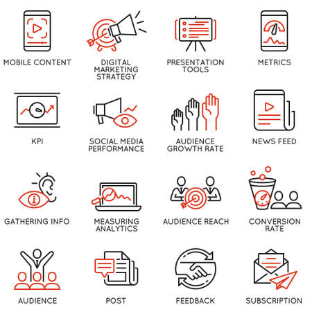 Vector set of linear icons related to  influence marketing and social media promotion services. Mono line pictograms and infographics design elements - part 1