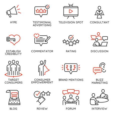 Wektor zestaw ikon liniowych związanych z wpływaniem na usługi marketingowe i promocyjne w mediach społecznościowych. Piktogramy mono-line i elementy projektu infografiki - część 3 Ilustracje wektorowe