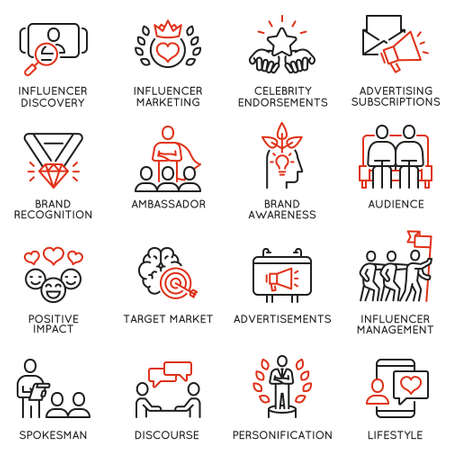 Vector set of linear icons related to influence marketing and social media promotion services. Mono line pictograms and infographics design elements - part 4