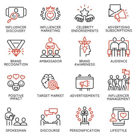 Wektor zestaw ikon liniowych związanych z wpływaniem na usługi marketingowe i promocyjne w mediach społecznościowych. Piktogramy mono-line i elementy projektu infografiki - część 4