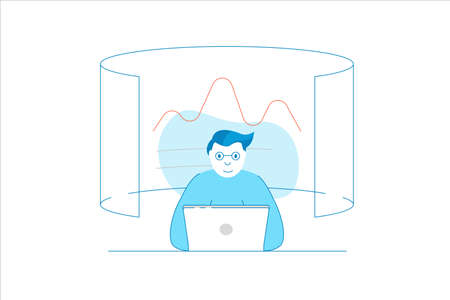 Analyst analyzing a data, business intelligence. Vector flat linear style - filled outline