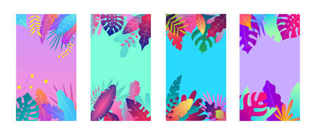 Vector set of abstract tropical backgrounds, social media stories wallpapers - tropical landscapes. Can use for smartphone template, mobile app, poster, gift card, coupon
