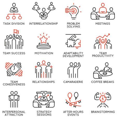 Vector conjunto de iconos lineales relacionados con el trabajo en equipo, el líder del equipo y la gestión de recursos humanos. Pictogramas de línea mono y elementos de diseño de infografías - parte 2