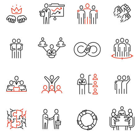 Vector set of 16 linear quality icons related to team work, human resources, business interaction. Mono line pictograms and infographics design elements - part 3