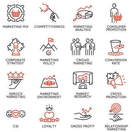 Vector set of linear icons related to business management process, advertising promotion and marketing. Mono line pictograms and infographics design elements - part 5