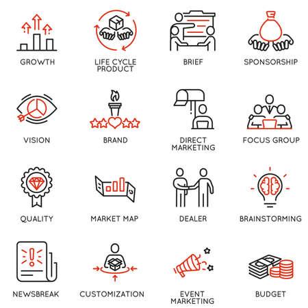 Ensemble vectoriel d'icônes linéaires liées au processus de gestion d'entreprise, à la promotion publicitaire et au marketing. Éléments de conception de pictogrammes de ligne mono et d'infographies - 9