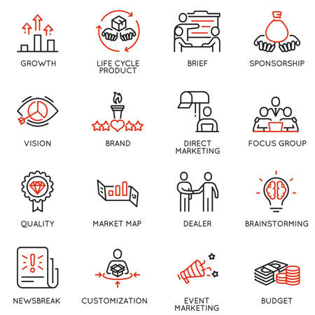 Vector set of linear icons related to business management process, advertising promotion and marketing. Mono line pictograms and infographics design elements - 9