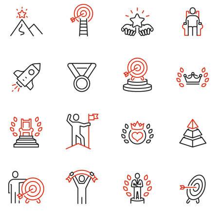 Ensemble vectoriel d'icônes linéaires liées au développement du leadership, à l'affirmation de soi, à l'autonomisation, aux compétences. Éléments de conception de pictogrammes de ligne mono et d'infographies - 2
