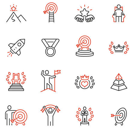 Vector set of linear icons related to leadership development, assertiveness, empowerment, skills. Mono line pictograms and infographics design elements - 2 Illustration